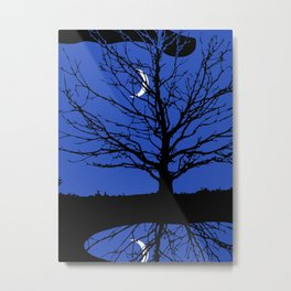 Moon with Tree, Cobalt Blue, Black and White Metal Print