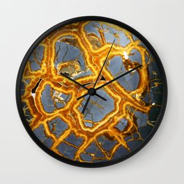 Bold Geometric Septarian Nodule Slice In Blue and Golden Yellow Wall Clock