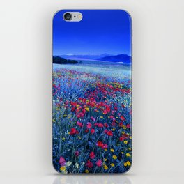 Spring poppies at blue hour iPhone Skin