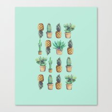 cactus and pineapples blue  Canvas Print