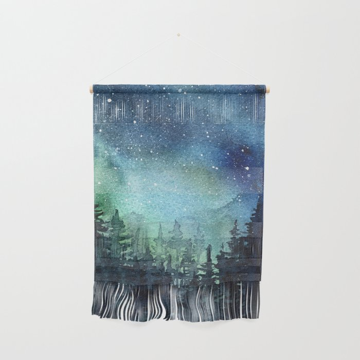 Galaxy Watercolor Aurora Borealis Painting Wall Hanging