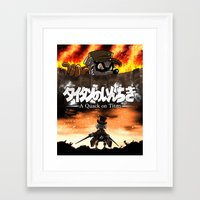 attack on titan Framed Art Prints featuring A Quack on Titan by ADobson