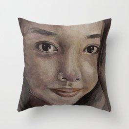 Watercolor portrait pretty asian girl Throw Pillow