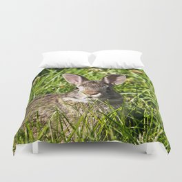Young Cottontail Rabbit Duvet Cover
