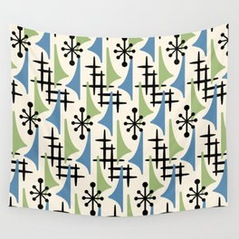 Mid Century Modern Atomic Wing Composition Blue & Sage Wall Tapestry