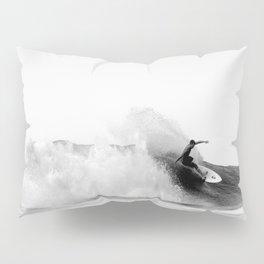 Surfer, Big Wave, Beach Wall Art, Black and White Photograph Pillow Sham