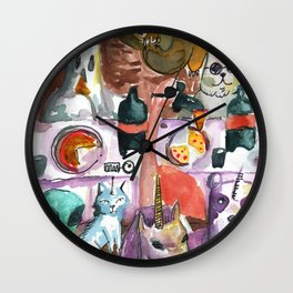 kawaii pizza party Wall Clock