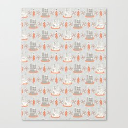 Wrapped Presents Under the Tree Grey and Orange Canvas Print
