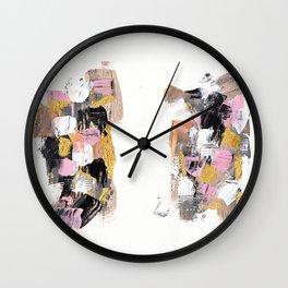 Modern abstract acrylic paint pink black gold salmon brushstrokes 2 parts Wall Clock