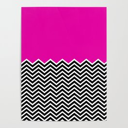 Flat Pink and Classic Chevron Poster