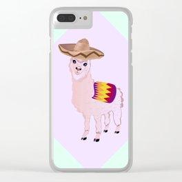 Cartoon Alpaca in Sombrero Clear iPhone Case