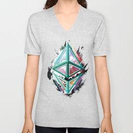 Ethereum Logo Abstract 01 Unisex V-Neck