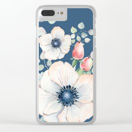 Summer Flowers Blue #society6 #buyart Clear iPhone Case