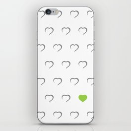 Hearts - Green iPhone Skin