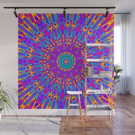 Happy Colors Explosion Psychedelic Mandala Wall Mural
