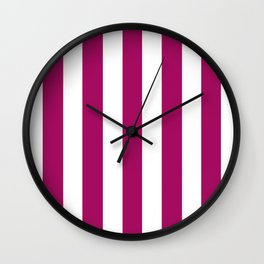 Jazzberry jam violet - solid color - white vertical lines pattern Wall Clock
