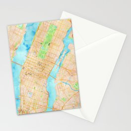 New York City watercolor map Stationery Cards
