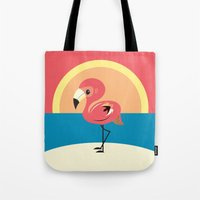 flamingo Tote Bags featuring Flamingo by Steph Dillon