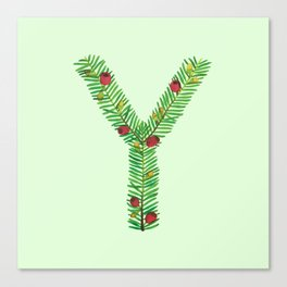 Leafy Letter Y Canvas Print