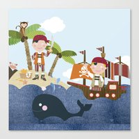 pirates Canvas Prints featuring pirates by elisapesteguia