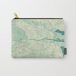 Dublin Map Blue Vintage Carry-All Pouch