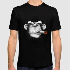 Cigar Monkey Mens Fitted Tee Black LARGE