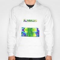 kansas Hoodies featuring Kansas Map by Roger Wedegis