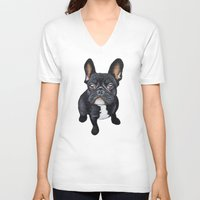 french bulldog V-neck T-shirts featuring French Bulldog by PaperTigress