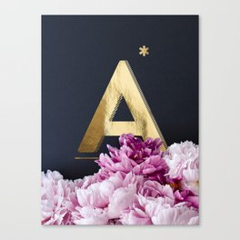 Pink Peonies Flower Alphabet Golden Letter A Canvas Print
