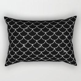 Black & Silver Mermaid Scales Pattern Rectangular Pillow
