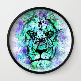Face of a lion. Grunge style. Wall Clock