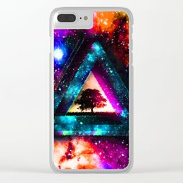 Triangle With Nebula Space Clear iPhone Case