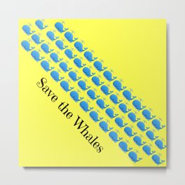 Save the Whales (Yellow) Metal Print