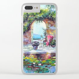 Cozy courtyard Clear iPhone Case