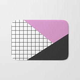Geometry: black, pink and squres Bath Mat