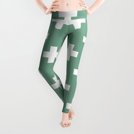 Seafoam Green Plus Sign Pattern Leggings