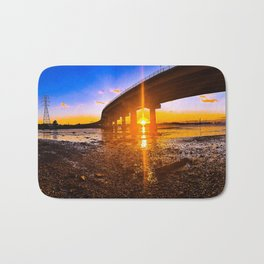 Sunset Panorama Below the Casco Bay Bridge Bath Mat