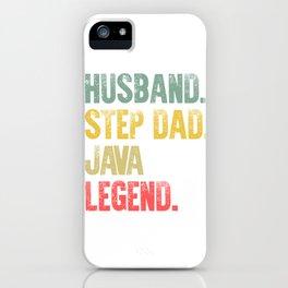 Funny Men Vintage T Shirt Husband Step Dad Java Legend iPhone Case