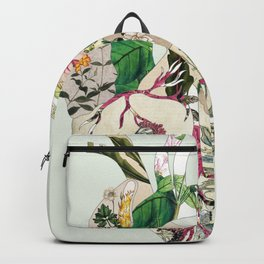 Vintage Botanical Heart On Green Backpack