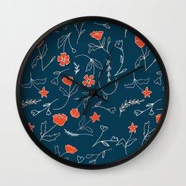 Orange pink pastel navy blue modern floral Wall Clock
