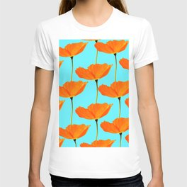 Poppies On A Turquoise Background #decor #society6 #buyart T-shirt