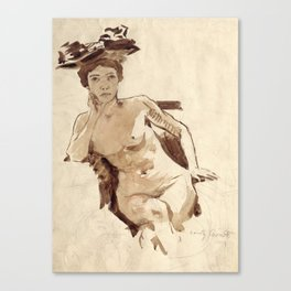 Female Semi-Nude with Hat Canvas Print
