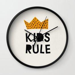 Kids Rule, Mid century modern kids wall art, Nursery room Wall Clock