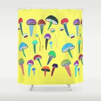 mushrooms Shower Curtains featuring Mushrooms  by Ashley Percival illustration
