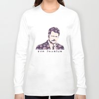 ron swanson Long Sleeve T-shirts featuring Ron Swanson by MisfitKismet Designs