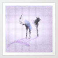 3 legged cat Art Print