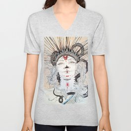 Day of the Dead Portrait Sugar skull with Moth and insect Unisex V-Neck