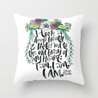 sylvia plath Throw Pillows featuring Hand-lettered Sylvia Plath quote with flowers by to florence with love