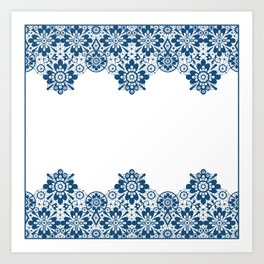 Blue lace on white background . Art Print