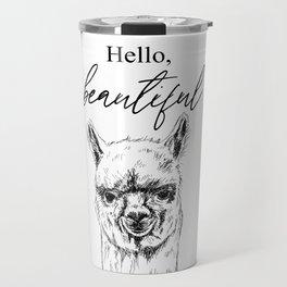 Hello, Beautiful Alpaca Sketch Travel Mug